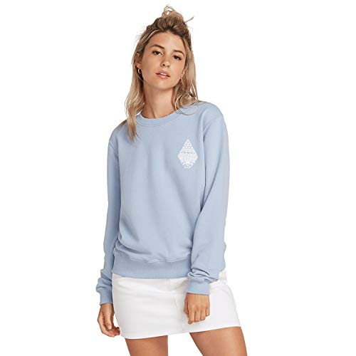 Volcom Damen Sound Check Fleece Sweatshirt, Misty Blue, M (Pullover Volcom Frauen)