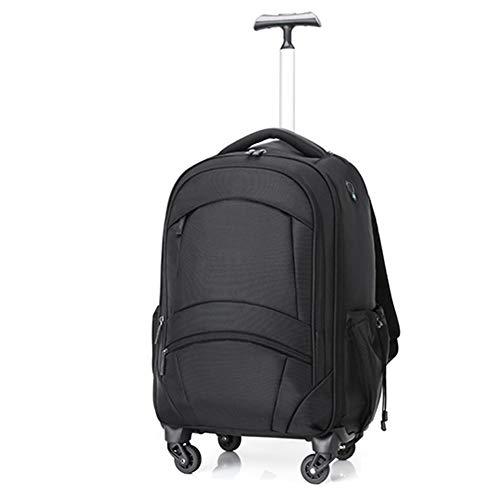 NSWDC Trolley Rucksack Unisex, Oxford Lightweight Wheeled Rolling Laptop Rucksack Schüler Schultasche, für Geschäftsreisen Rollgepäck 20 Zoll (schwarz) -