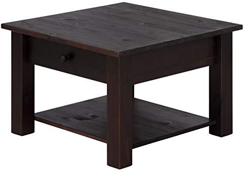 Loft24 Couchtisch Kaffeetisch Schublade Wohnzimmertisch Landhaus Sofatisch Kiefer Holz massiv, 60x60 cm (Dunkelbraun)