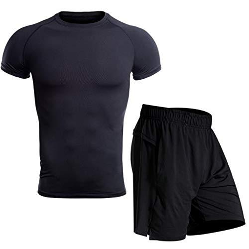 VRTUR Sportbekleidung Herren Fitness Bekleidung Trainingsanzug 2pcs Set Fit elastische Sportwear Fitness Anzug Set Gym Yoga Kompressionsshirt Sporthose Leggings
