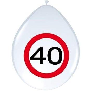 40. Geburtstag Luftballon mit Verkehrsschild 40 Ballons zum 40.Jubiläum Deko Ballons mit Jahreszahl 40 Latexballon mit Zahl 40 zur Dekoration zum 40. Geburtstag Party oder andere Anlässe 8 Stück