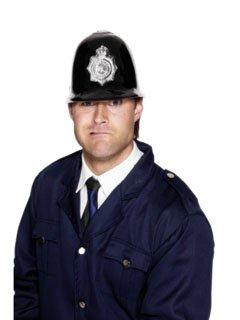 Karneval Kostüm Zubehör Polizei Helm schwarz silber Bobby
