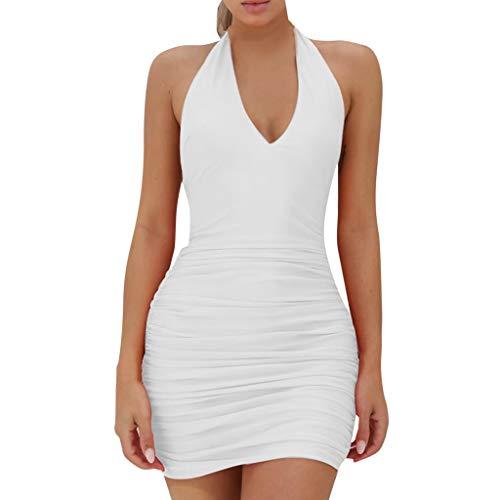 Dicomi Damen Kleid Ärmelloses Rückenfreies V-Ausschnitt Abendkleid
