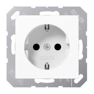 Preisvergleich Produktbild Jung SchukoSteckdose 16A250V mit Berührungsschutz Serie A Alpinweiß, 1 Stück, A 1520 KI WW