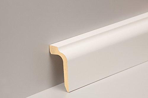 KGM Verkleidung weiß 90mm | Heizungsrohr Abdeckung ✓Kabelkanal ✓weiss ✓Echtholz | Kabelkanal Sockelleiste weiß | Rohrverkleidung 41x90x2400mm