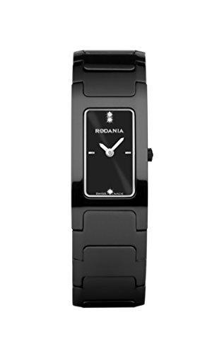 Parte posterior con revestimiento de Rodania CFT-R2 para mujer reloj infantil de cuarzo con esfera analógica y de cerámica de color negro pulsera RS2459046