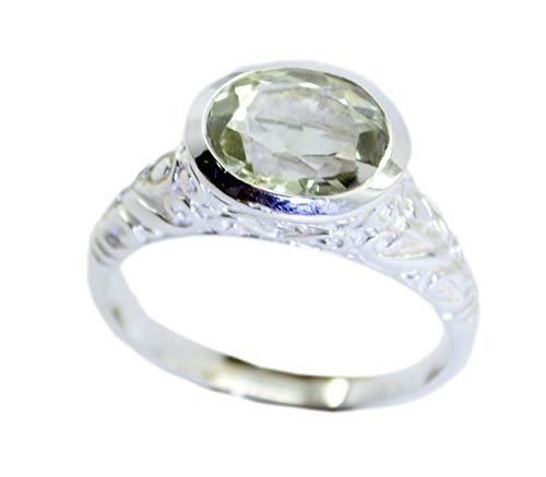 Riyo argento sterling 925 indiano splendido anello verde genuino, anello verde in argento con pietra verde ametista