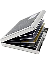 NIVERA Stainless Steel RFID Blocking Debit Card, Credit Card Holder For Men,ATM Card Holder Wallet - Silver Black