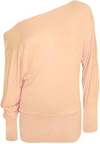 Mix lot Fashion Plus ample à manches chauve-souris avec épaule dénudée pour femme Robe Uni Housse souple :  8–26 Beige - Nude
