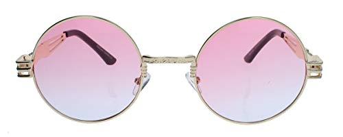amashades Vintage Classics oversized Retro Sonnenbrille 90er Jahre Designer Stil oval rund gold farbige Gläser Damen Herren QV28 (Rund: Gold/Rosa)