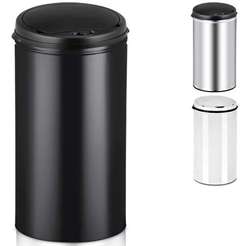 Deuba Sensor Mülleimer 56L Abfalleimer Automatik Müllbehälter Abfallbehälter Edelstahl Papierkorb mit Bewegungssensor und Deckel schwarz