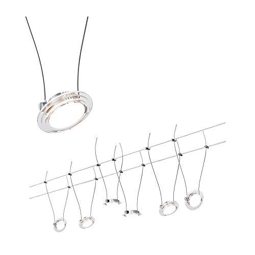Paulmann 941.17 Seilsystem TwistCoin Set erweiterbar Warmweiß 6x4W LED Chrom matt 94117 Seilleuchte Hängeleuchte