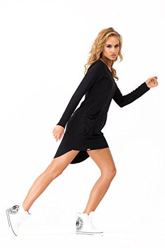 Futuro Fashion Femmes Asymétrique Mini Robe Avec Poches Col Bateau Fête FA359 Noir