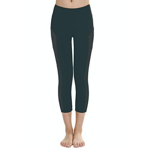 Lfeu pantaloni elastici di yoga per le donne leggings sottili a vita alta con tasca pantaloncini attillati sexy a rete ad asciugatura rapida