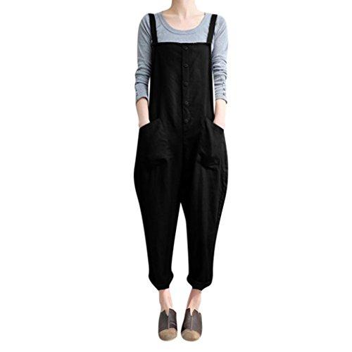 ose Knopf Overalls Jumpsuits Harem Lange Hosen Mädchen Hose Playsuits (L, Schwarz) ()