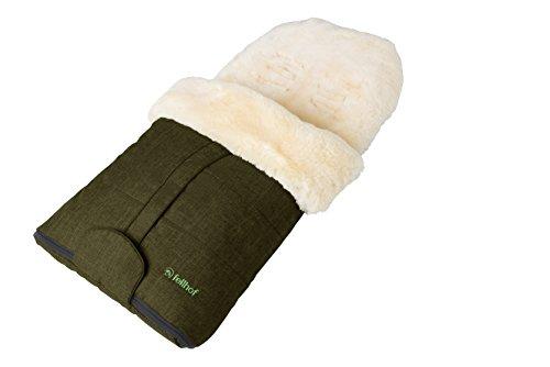 Fellhof Lammfell-Fußsack Cortina, OEKO-TEX® Standard 100 zertifiziert, 45x97 cm, wind- und wasserdicht, waschbar bis 30°C, Öffnung am Fußende (olive melange)