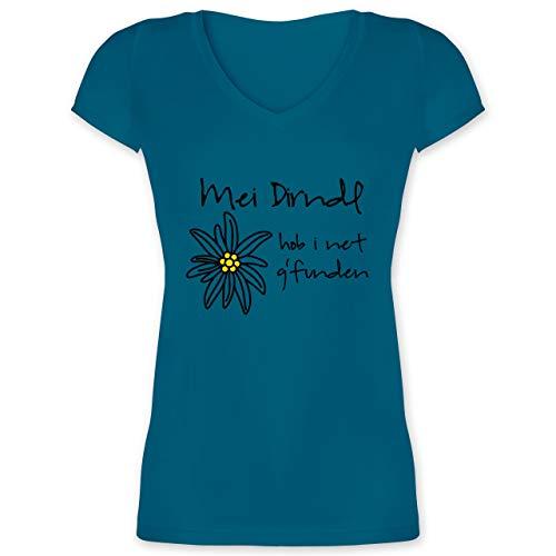 Oktoberfest Damen - Dirndl net g'funden - Shirt statt Dirndl - XS - Türkis - XO1525 - Damen T-Shirt mit V-Ausschnitt