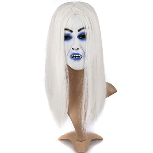 OYJJ Weiße Hexenmaske für Erwachsene, Kostüm, Party, Geist, Festival, Halloween, Maske, Weiß White bloodless (Gruseligen Weißen Maske)