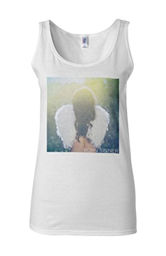 Born Sinner Sexy Angel Girl Wings Novelty White Femme Women Tricot de Corps Tank Top Vest **Blanc