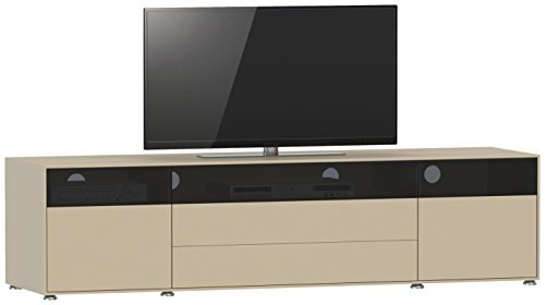 Jahnke TV Lowboard, E1 Spanplatte, lackiert, Sicherheitsglas, Metall, matt Cappucino, 180 x 45 x 43.5 cm -