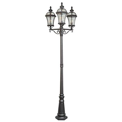 MW-Light 811040703 Außenbeleuchtung Pollerleuchte Laterne 3 Flammig Schwarze Farbe Aluminium Metall Antik Nostalgie Rustikal Gartenlicht 3 x 95W E27