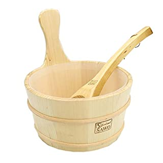MBLUE 4L Sauna Wooden Bucket Pail Ladle With linner combined Set Sauna Room Accessory