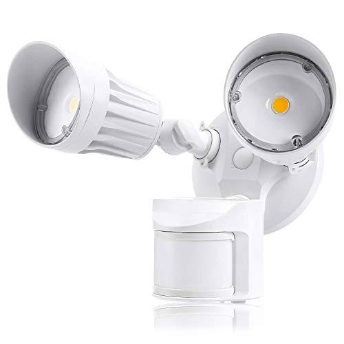 Led Aussenstrahler mit Bewegungsmelder, LACYIE LED Strahler mit einstellbarem Bewegungsmelder 2800LM IP65 Wasserdichtes Flutlicht 5000K Tageslichtweiß Wandlampe für Draussen, Hinterhöfe, Garten 2-pin Clip