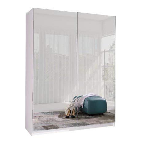 Armoire, Penderie avec étagères et 2 Portes coulissantes (L x H x P): 150x206x62 cm (ADA6: Miroir)