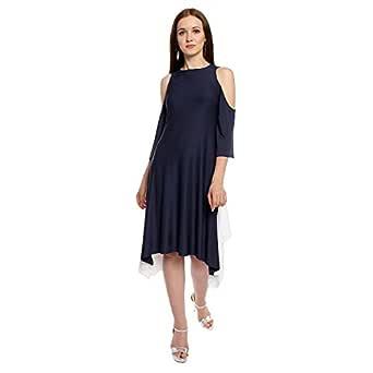 Lady Strak Women's Western Boat Neck 3/4 Sleeve Navy Blue Dress
