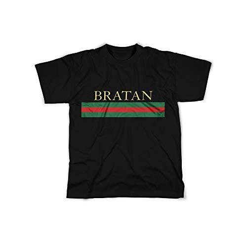 f6840838299d Männer T-Shirt mit Aufdruck in Schwarz Gr. M Bratan Bro Russian Rot Grün