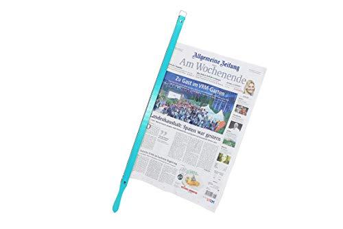 BigDean Presto Zeitungshalter türkis Zeitungsstock Buche Pantone RAL6027 58 cm Einspannlänge
