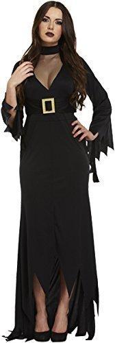 Adulto da donna lunghezza intera nero strega halloween paura costume vestito con cappello (standard (uk 10-14))