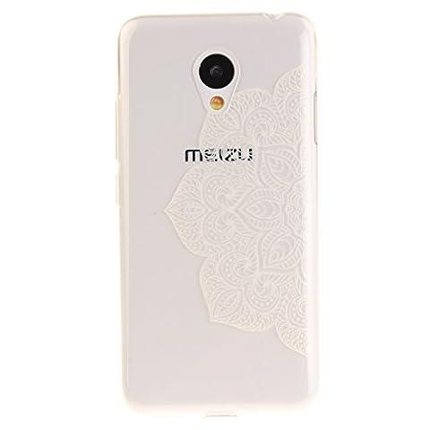 "Meizu M3 Hülle, SsHhUu Kratzfeste Clear Durchsichtig Ultra Slim TPU Schutzhülle Bumper Tasche Cover Case für Meizu M3 (5.0"") - Weiße halbe Blume"