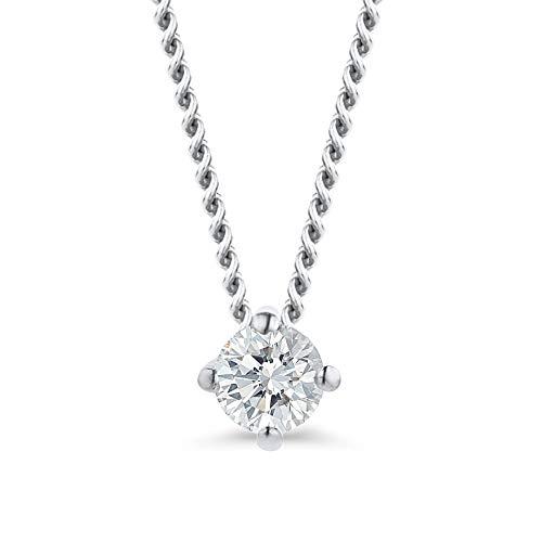 Orovi Damen Diamant Kette Weißgold, Halskette mit Solitär Diamant Anhänger 18 Karat (750) Gold und Diamant Brillanten 0.07 Ct, 45 cm lang Halskette Handgemacht in Italien