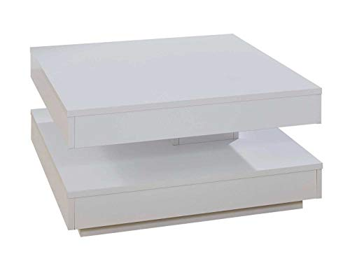 Nicht Zutreffend Couchtisch Sofatisch Wohnzimmertisch   Weiß matt   Dekor   70x70 cm   Drehbare Tischplatte (Dekor-tisch Wohnzimmer)