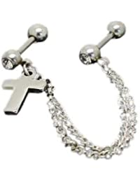 Barbell Cruz Dangle Pendiente Con Cadena Oreja Piercing 316L Medical 16G