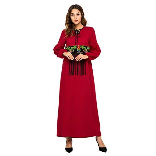 Amlaiworld  Damen-Ethnisches Kleid, Sommer Frauen Moslemisches Kaftan Kleid Rote Quaste Abaya Islamische Türkische Mode Lange Kleider(rot,XL)