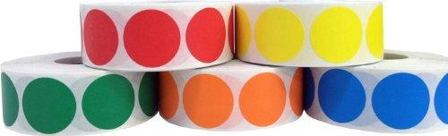 Circulo Punto Pegatinas 5 Color Paquete, 19 mm 3/4 Pulgada Redondo, 500 Etiquetas de Cada Color en un Rollo