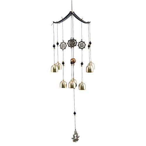 Yeucan Vintage Gravur Windspiel Schlafzimmer hängenden Wind Glocken Hof Garten Dekor Geschenk, Wufu Wind Bell (Typ B) - Echo-wind Chime