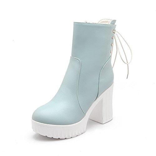 Senhoras Allhqfashion Meio-top Zip Em Torno De Botas Toe De Salto Alto Azul