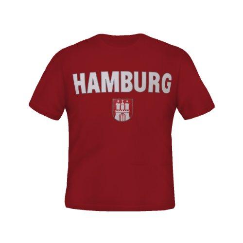 Hamburg T-Shirts in 8 starken Farben - Reine Baumwolle - Gr. S - XXXL von Brubaker (S, Rot)