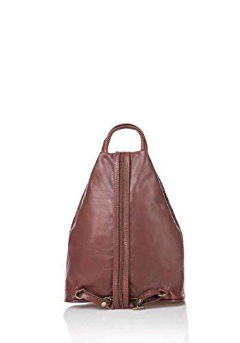 ZETA SHOES Damen Leder Rucksack Tasche, hergestellt in Italien MainApps Marrone