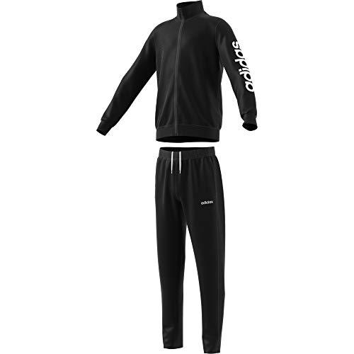 adidas Jungen Polyester Trainingsanzug, Black/White, 134 (Kind Trainingsanzüge)