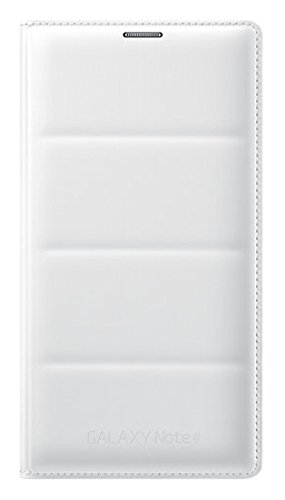 Samsung Flip Wallet Case Cover Schutzhülle in Stepp-Optik mit Kartenfach für Samsung Galaxy Note 4, weiß