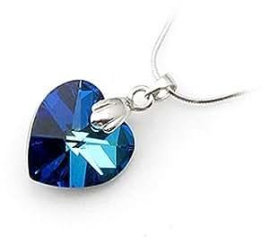 Halskette Anhänger Herz Kristall 925er Sterling Silber - blau