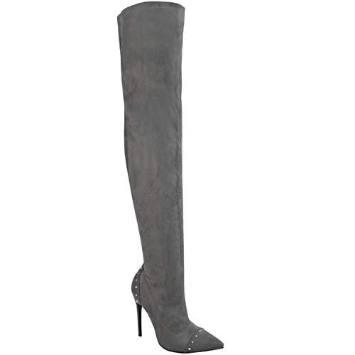 Fashion Thirsty Damen Overknee-Stiefel mit Nieten-Details - hoher Absatz - Graues Veloursleder-Imitat - EUR 39