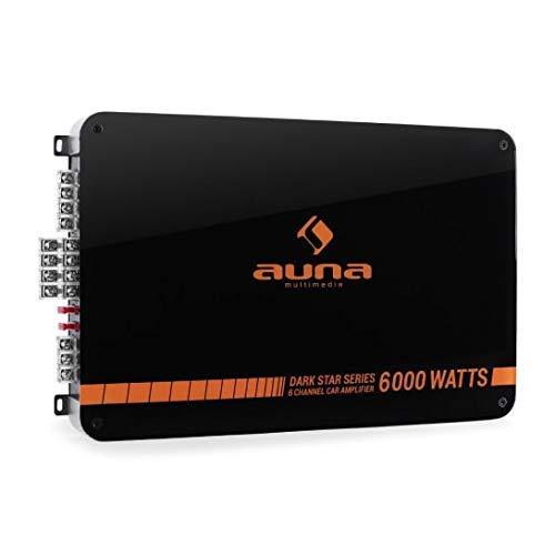 auna Dark Star 6000-6 -Kanal Auto-Endstufe, Car Amplifier, HiFi Verstärker, brückbar, 6/5/4/3-Kanal Betrieb, 600 W RMS, einstellbare Frequenzweich, 3 x Stereo-Cinch-Audio-Eingang, orange-schwarz