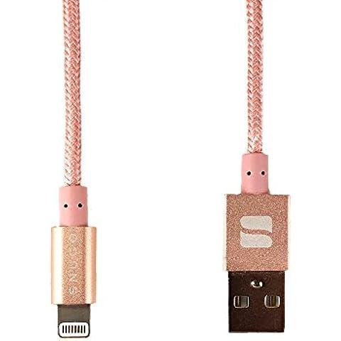 Cable Lightning, Snugg Cable de Carga USB Cargador Para Apple iPhone [Apple MFI Certificado] Nylon Lightning Cable [1m – 3.3ft] Para iPad / iPod / iPhone 7 / 6 / 6s / 5 / 5s / 5c / SE / 4s - Rose Gold