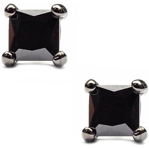 4mm quadrato orecchini a perno in strass ematite tono sst-he6
