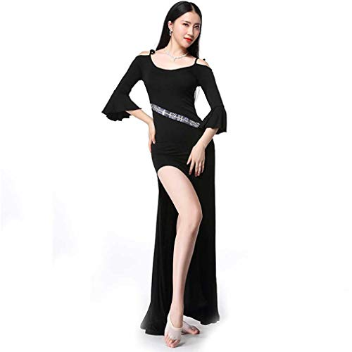RJ Kleid Frauen Rundhals Kurzarm Bauchtanz Latin Dance Kleid, Adult Sexy Clothing (Color : Black, Size : M)